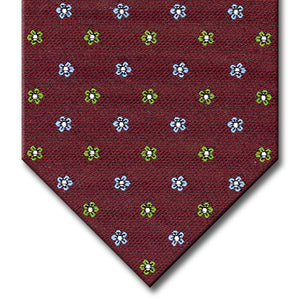 Burgundy with Light Blue and Green Floral Pattern Tie