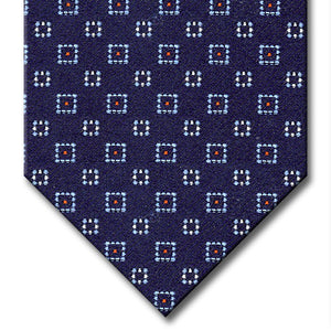 Navy with Light Blue, Red and Silver Geometric Pattern Tie
