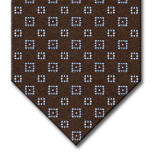 Brown with Light Blue, Pink and Silver Geometric Pattern Tie