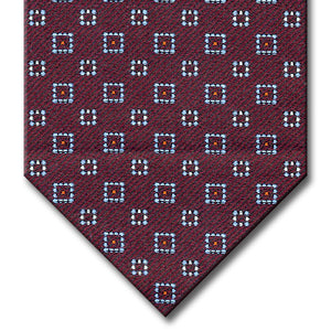 Burgundy with Light Blue, Red and Silver Geometric Pattern Tie