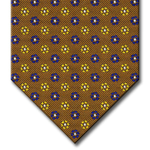 Brown with Navy, Gold and Silver Floral Pattern Tie