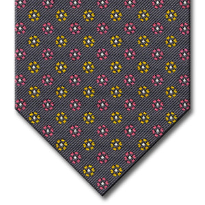 Charcoal Gray with Pink, Gold and Silver Floral Pattern Tie