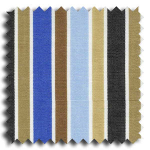 Shades of Blue and Tan Bar Stripe Broadcloth Custom Dress Shirt