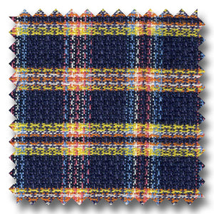 Navy, Orange and Yellow Plaid Novelty - Custom Dress Shirt