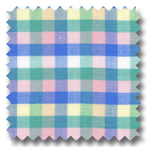 Pink, Blue,Mint and Yellow Check Poplin - Custom Dress Shirt