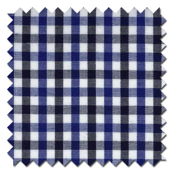 Black and Royal Gingham Tattersall Check / Plaid Custom Dress Shirt