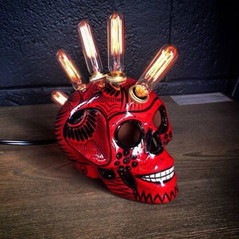 Day of the Dead Skull Lamp