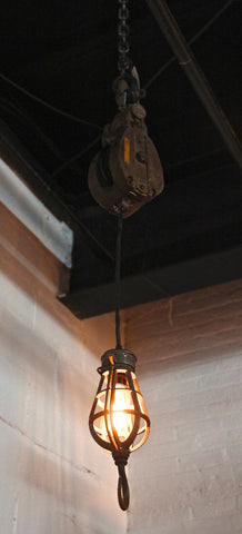 Pulley Light with Industrial Cage