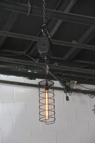 Black Pulley Pendant with Cage Shade
