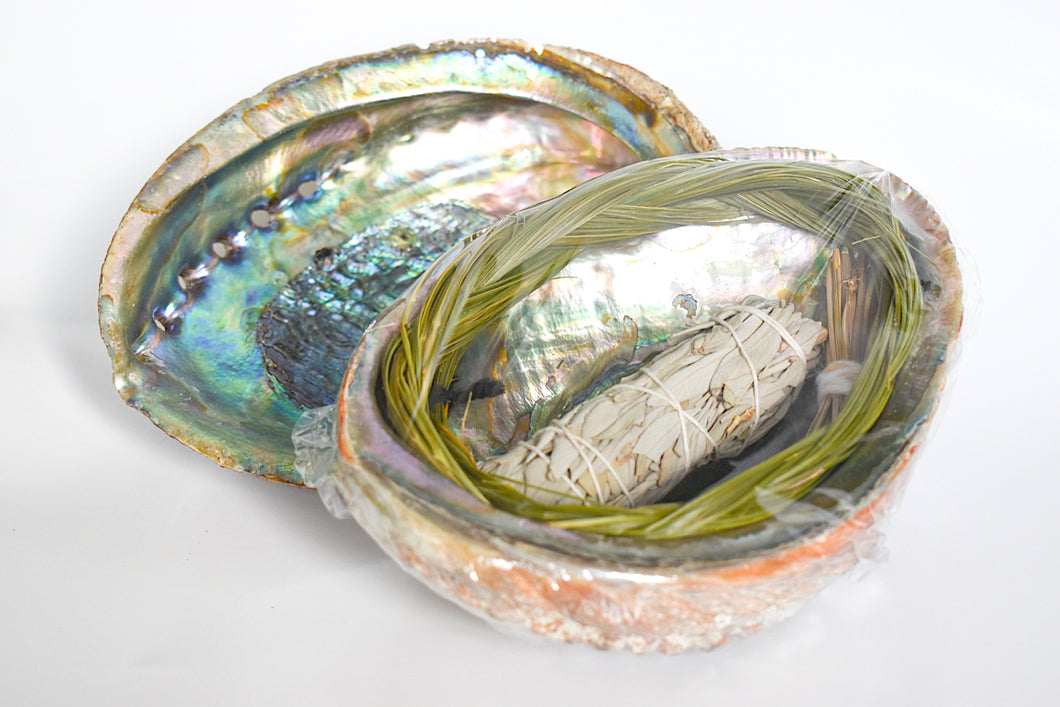 Abalone Smudge Kit with Sage and Sweetgrass