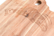 Load image into Gallery viewer, Acacia Wood Serving Board - Salmon by Francis Horne Sr. Coast Salish