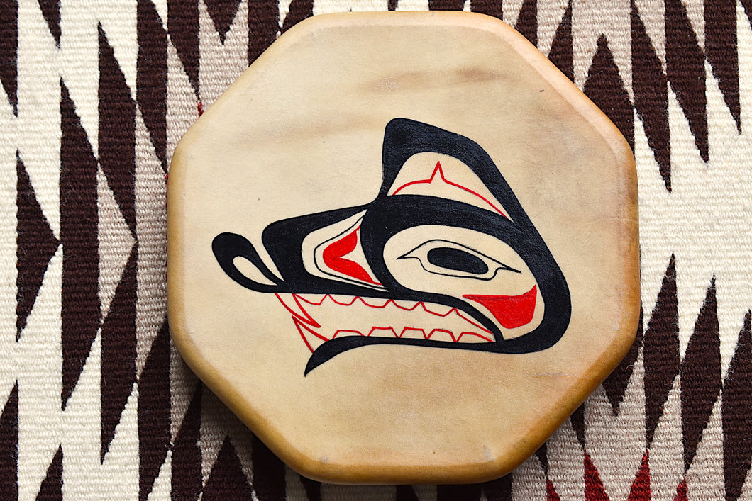 Painted Hand Drum with Bear design by Sharon Byerly, Aleut