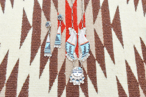 Zuni Carved Sun Necklace and Earring Set by Eidned Martinez