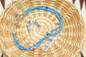 Zuni Channel Pendant and Earrings Set by Raylan and Patty Edaakie