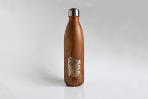 Wood Grain Pattern Insulated Water Bottle