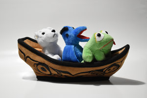 Brown canoe with polar bear, blue eagle, and green frog plush finger puppets