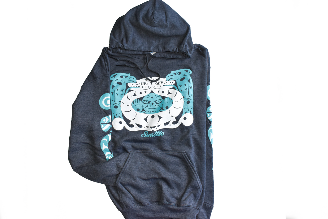 Hoodie: Charcoal Thunderbird and Serpent