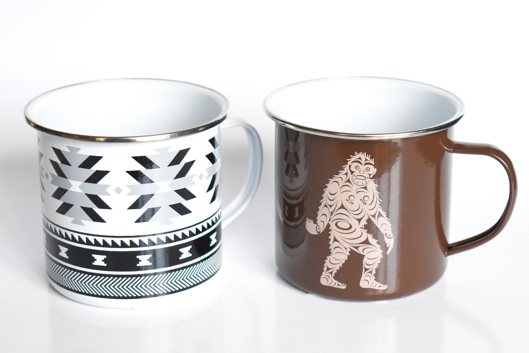 Enamel Mugs with Native Graphics