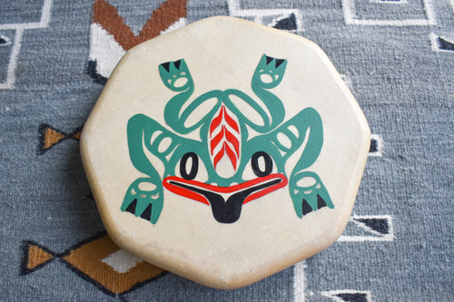 Painted Hand Drum with Frog Design by Sharon Byerly, Aleut