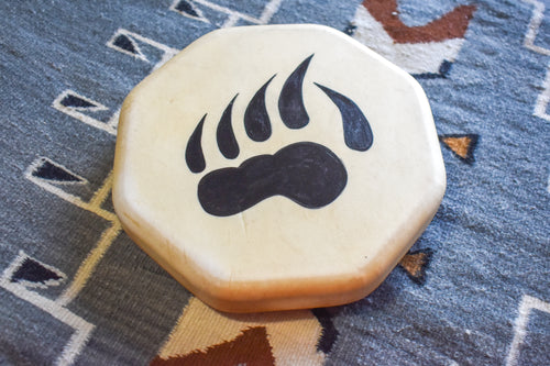 Painted Hand Drum with Bear Paw Design by Sharon Byerly, Aleut