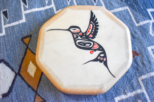 Painted Hand Drum with Hummingbird Design by Sharon Byerly, Aleut