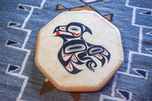 Painted Hand Drum with Owl Design by Sharon Byerly, Aleut