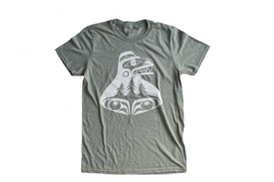 Bear the Treehugger Heather Green Graphic T-Shirt