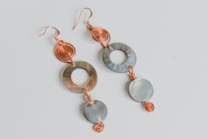 Copper Earrings: Night Land