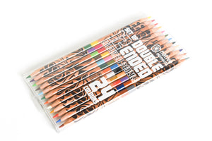 Clear plastic case of twelve double sided, different colored pencils