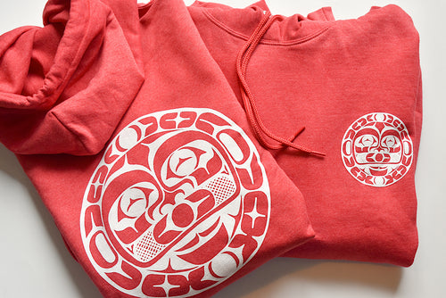 Red Double Moon Hoodie by Tommy Segundo, Haida