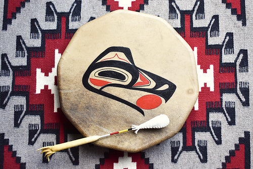 Painted Hand Drum with Raven design by Sharon Byerly, Aleut