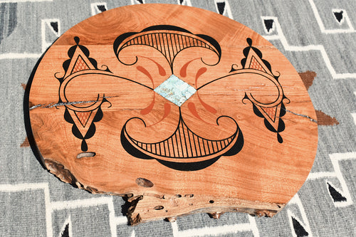 Painted Cedar Lazy Susan with turquoise