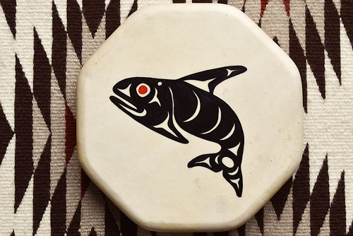 Painted Hand Drum with Orca design by Sharon Byerly, Aleut
