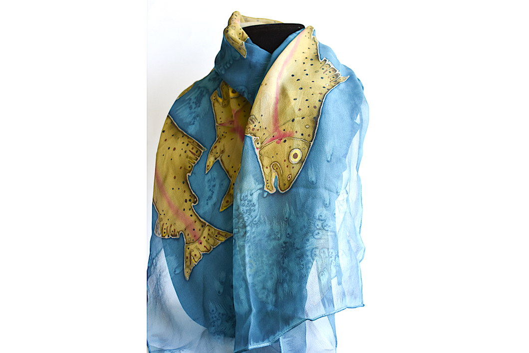 Teal Silk Scarf with Swimming Trout by Cliff Nichols