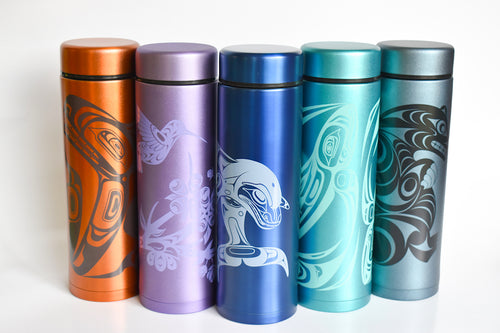 Insulated tumblers with strainer and Indigenous design