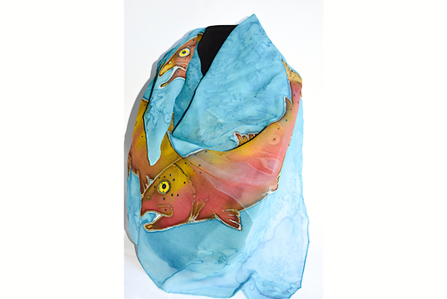 Turquoise Silk Scarf with Trout design