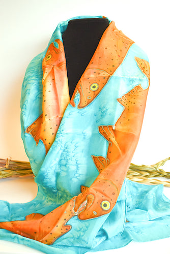 Turquoise Silk Scarf with Salmon by Cliff Nichols