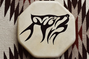 Painted Hand Drum with Wolf design by Sharon Byerly, Aleut
