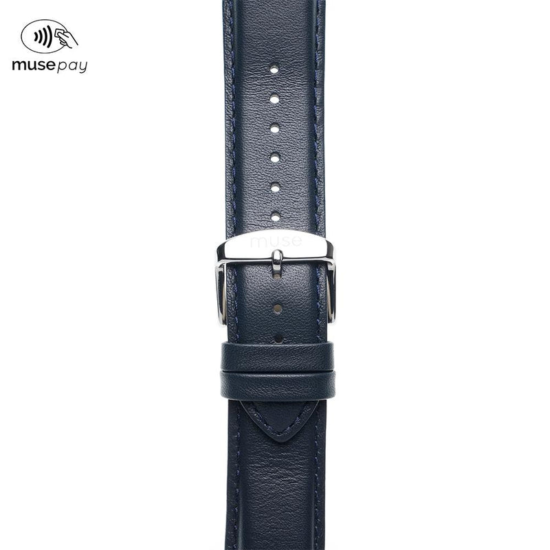 Foulard Navy Blue Leather NFC Strap
