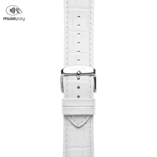 Alligator White Leather NFC Strap
