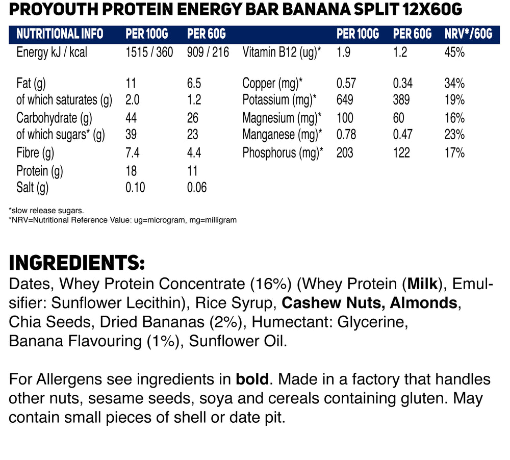 Load image into Gallery viewer, Banana Split Natural Performance Nutrition Energy Bars Multipack - 12 x 60g