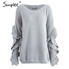 Load image into Gallery viewer, Simplee Ruffle knitted sweater women pullover female Casual loose round neck winter sweater Autumn pull femme knit jumper