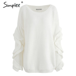 Simplee Ruffle knitted sweater women pullover female Casual loose round neck winter sweater Autumn pull femme knit jumper