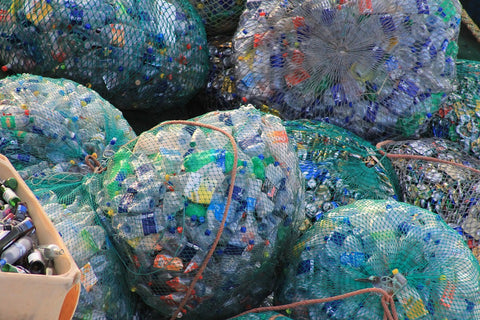 Bags of plastic bottle waste