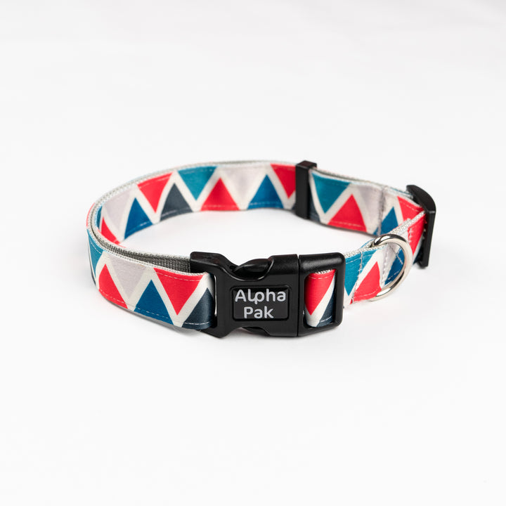 Blue Red White Triangular Pattern Dog Collar