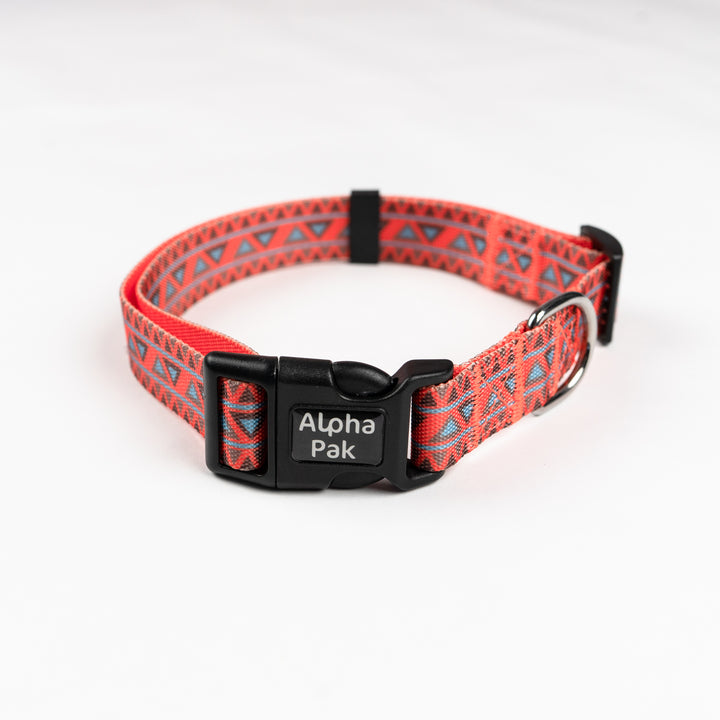 Natchez Orange Red and Blue Pattern Dog Collar