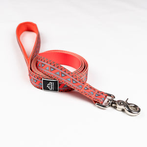 Natchez Orange Blue and Red Pattern Flat Dog Leash