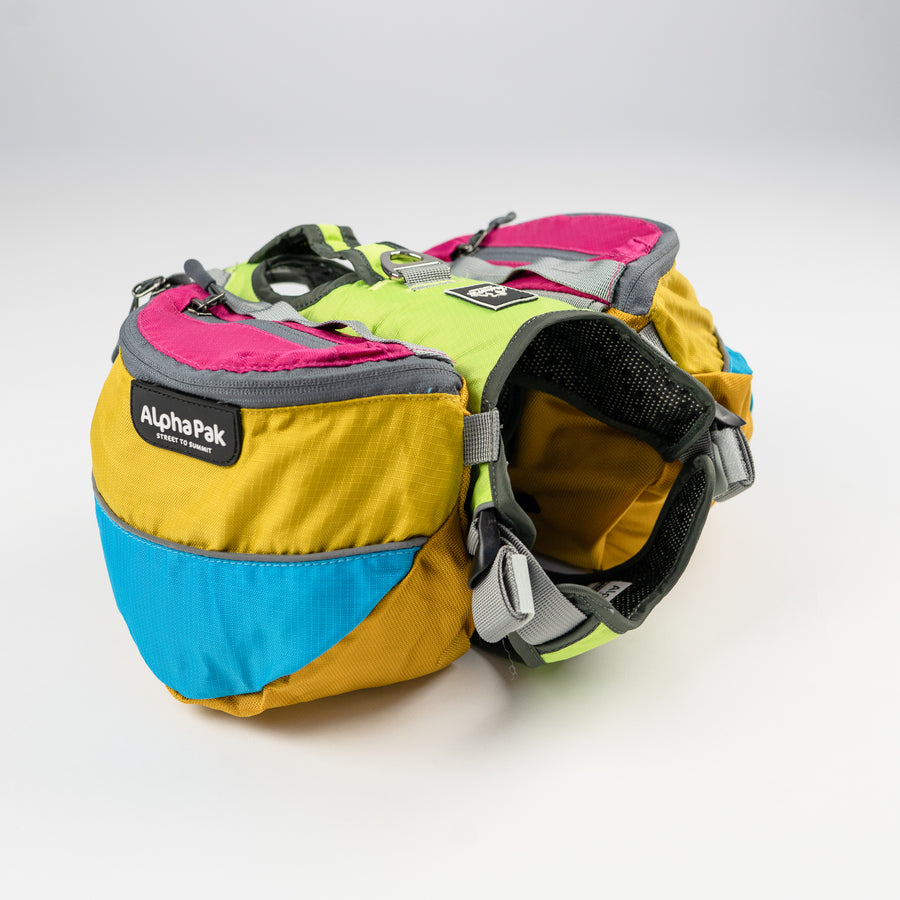 Wanderer Blue Pink Yellow and Gray Dog Pack with Harness