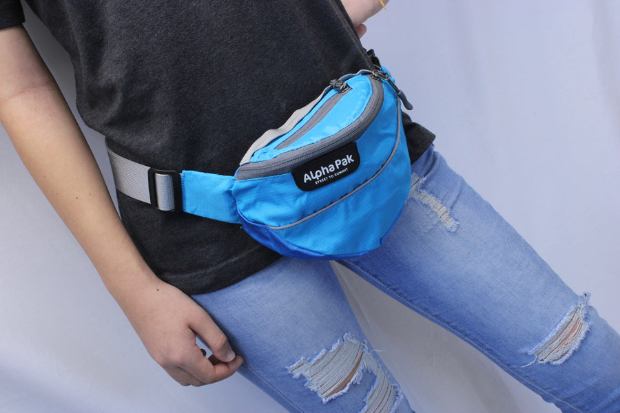 alphapak hip bag campingwithdogs reflective hiking fanny pack wanderer unisex rainbow fanny pack multiple colors best dog backpack dog saddlebags dog hiking hip pack light blue hip pack ocean blue