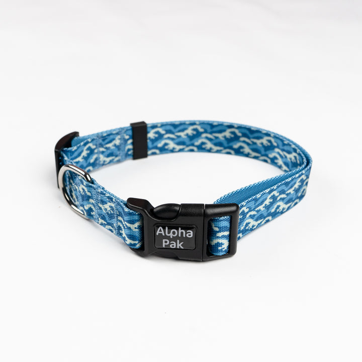 Blue and White Pattern Dog Collar